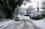 Snow stuck cars