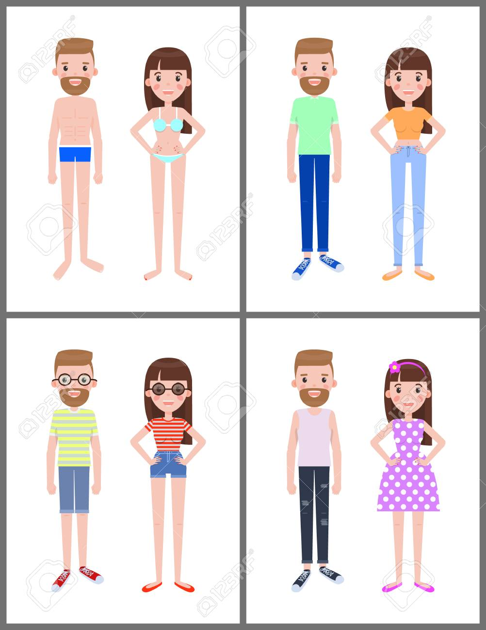Man and Woman Collection, Vector Illustration