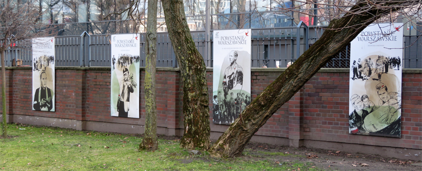 Images on the garden perimeter at the Warsaw Uprising Museum